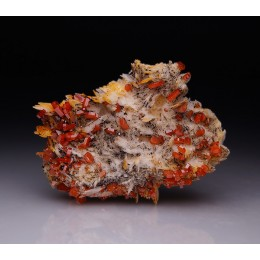 Vanadinite on Baryte Mibladen, Morocco M04321