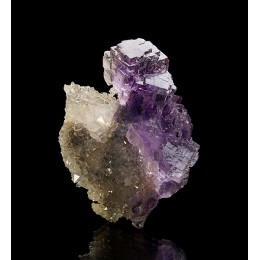 Fluorite on Quartz La Viesca M03990