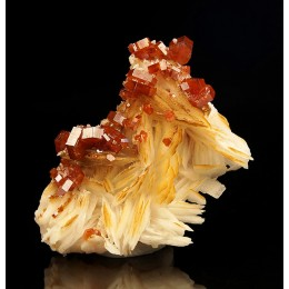 Vanadinite on Baryte Mibladen, Morocco M03869