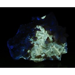 Calcite, Dolomite and Fluorite, Moscona Mine - Fluorescent M03396