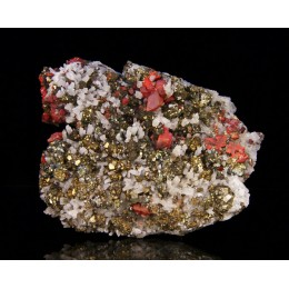 Realgar on pyrite and quartz - Peru M02868