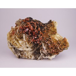 Vanadinite on Baryte Mibladen, Morocco M02988